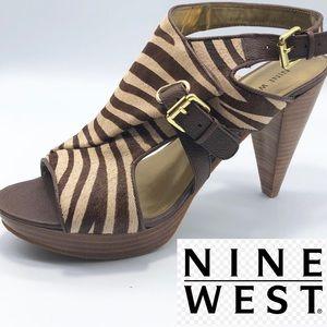 Nine West Real Fur Leather Zebra 🦓 print Heel 9.5